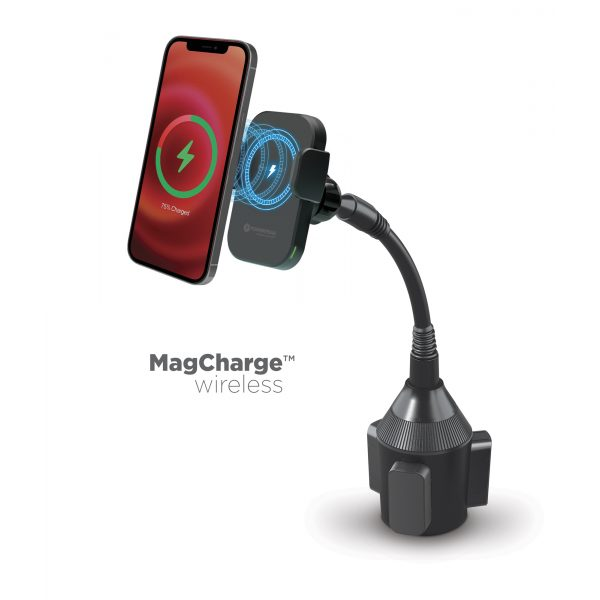 15W Wireless MagCharge Car Cup Mount Holder with Magnetic Auto-Alignment - Compatible with All Wireless Charging Smartphones