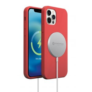 Base MagSafe Compatible Liquid Silicone Gel/Rubber Case for iPhone 2021 (6.1) - Red
