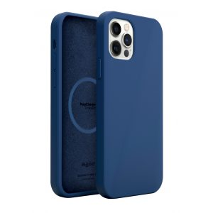 Base MagSafe Compatible Liquid Silicone Gel/Rubber Case for iPhone 2021 (6.1) - Blue