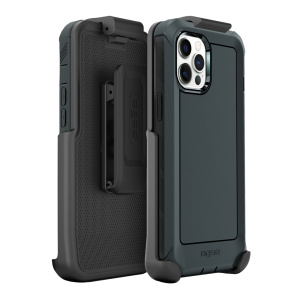 IPHONE 13 PRO MAX (6.7) - BOULDER - BLACK - HEAVY-DUTY CO-MOLDED RUGGED PROTECTIVE CASE w/ BELT CLIP HOSLTER