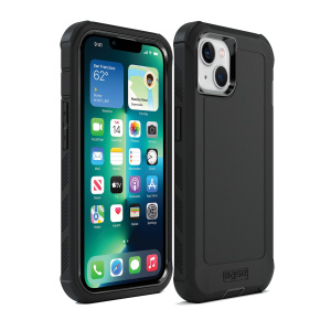IPHONE 13 (6.1) - BOULDER - BLACK - HEAVY-DUTY CO-MOLDED RUGGED PROTECTIVE CASE w/ BELT CLIP HOSLTER