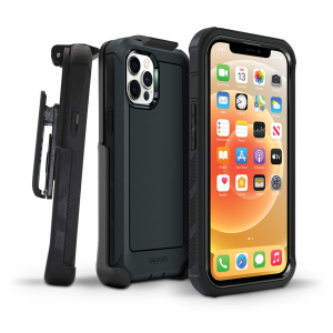 IPHONE 13 (6.1) PRO - BOULDER - BLACK - HEAVY-DUTY CO-MOLDED RUGGED PROTECTIVE CASE w/ BELT CLIP HOSLTER