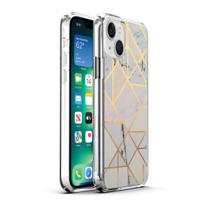 Base iPhone 13 (6.1) - Marble Luxury Shockproof Cover Case - White (LIMITED EDITION)