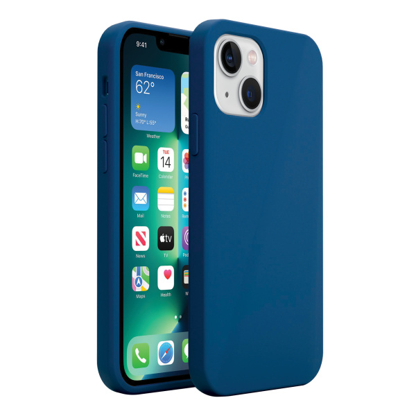Base MagSafe Compatible Liquid Silicone Gel/Rubber Case for iPhone 13 (6.1) - Blue