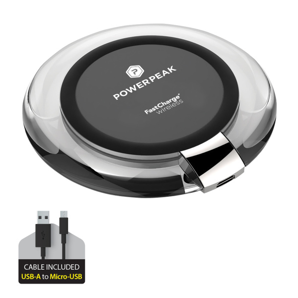 PowerPeak Fast Charge Wireless Charging Pad for Qi Compatible Devices (1.4X Faster)